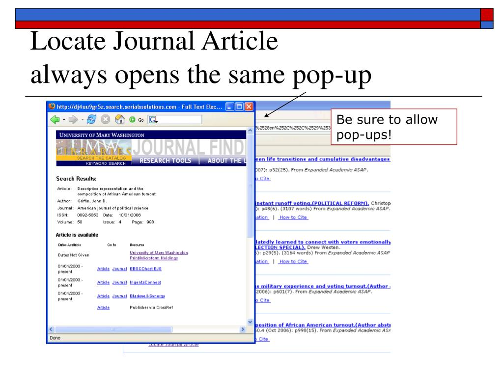 Locate Journal Article