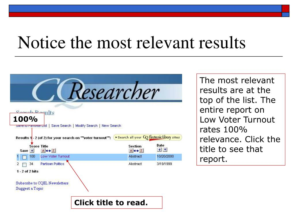 Notice the most relevant results