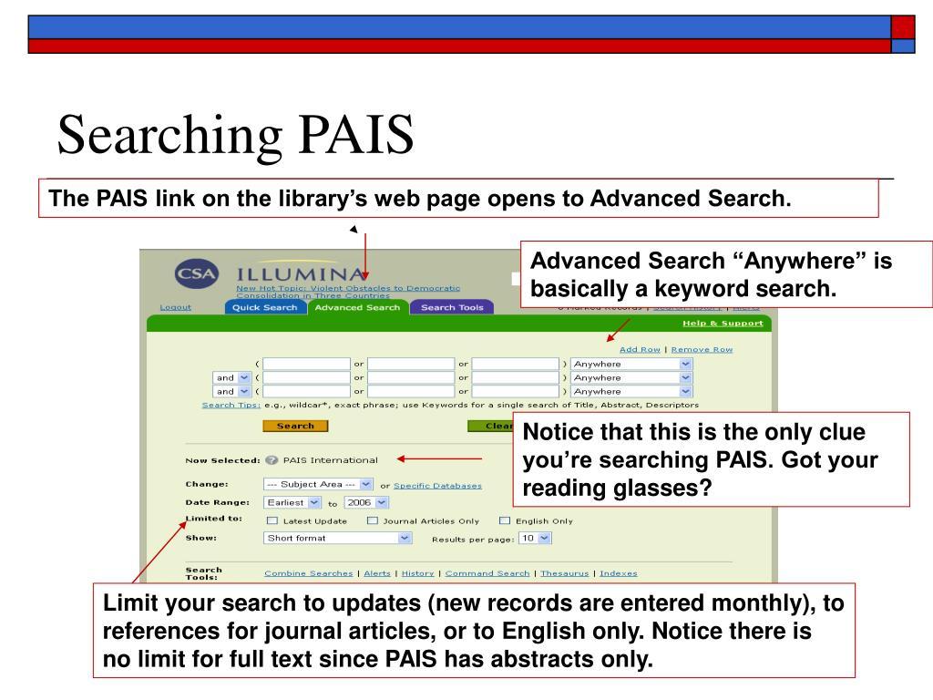 Searching PAIS