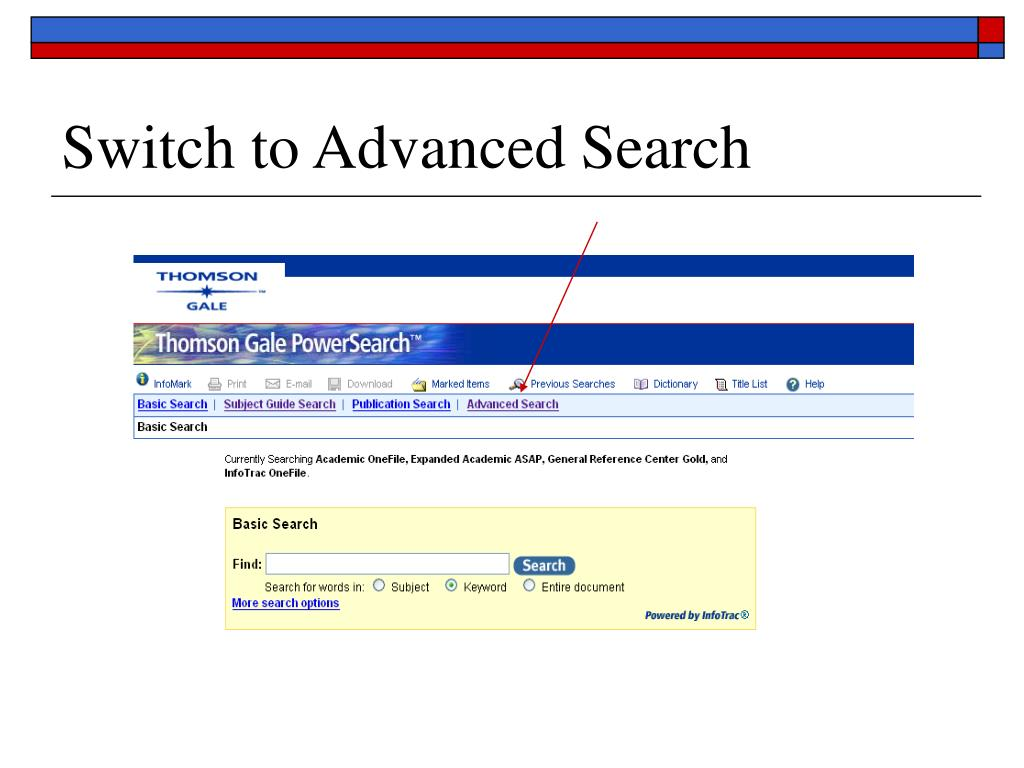 Switch to Advanced Search