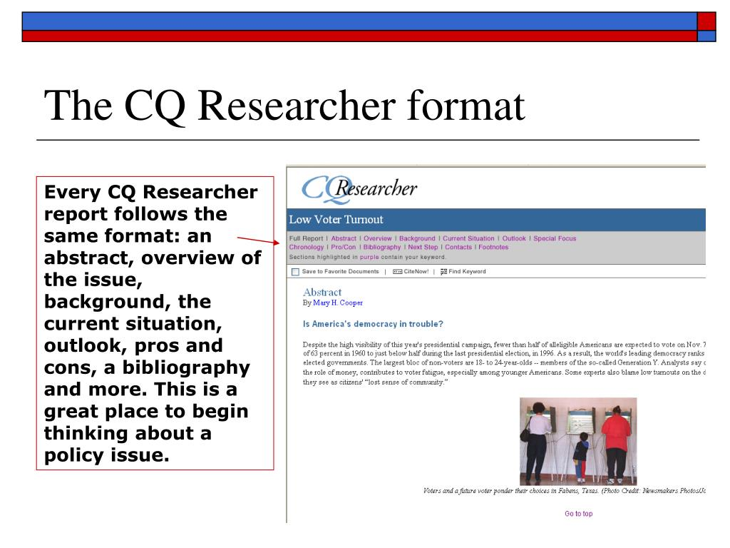The CQ Researcher format
