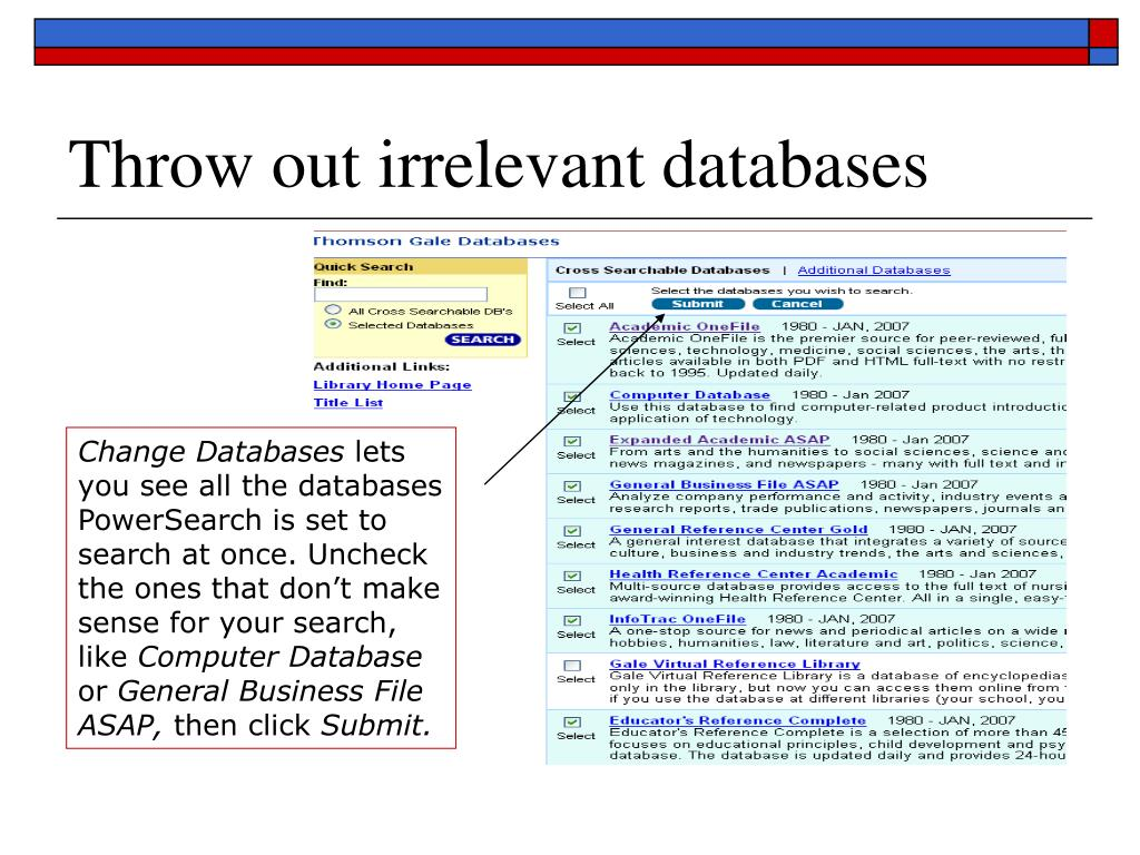 Throw out irrelevant databases