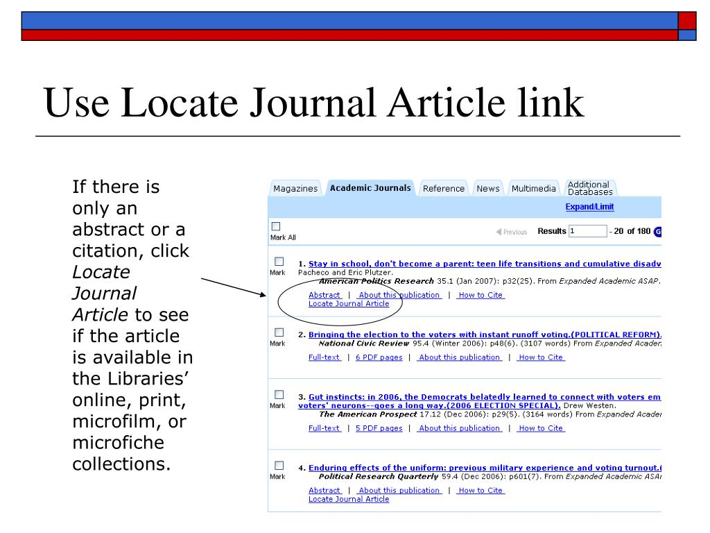 Use Locate Journal Article link