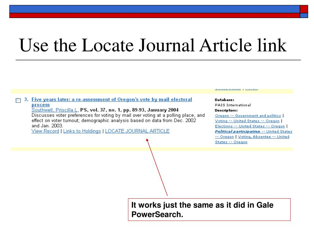 Use the Locate Journal Article link