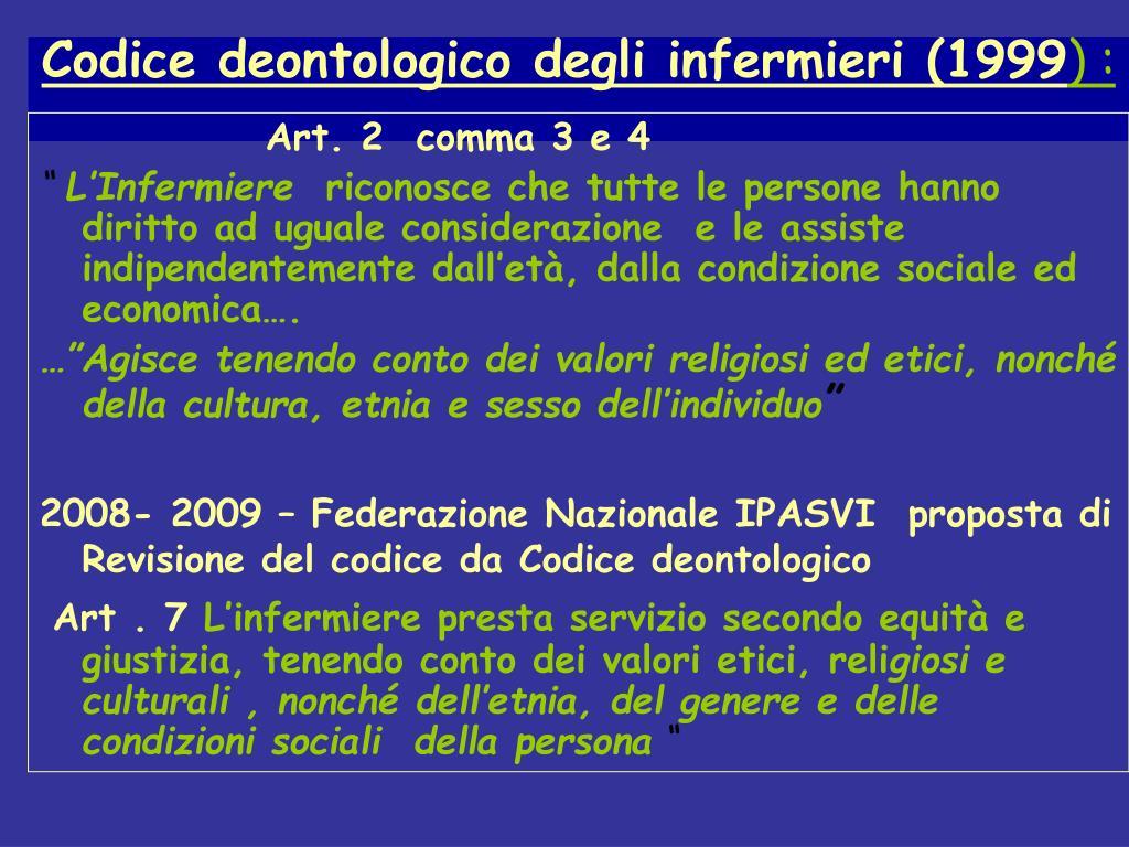 Codice deontologico degli infermieri (1999