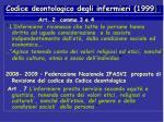 codice deontologico degli infermieri 1999