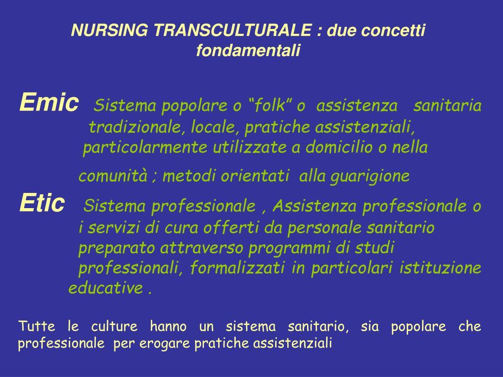 NURSING TRANSCULTURALE : due concetti fondamentali