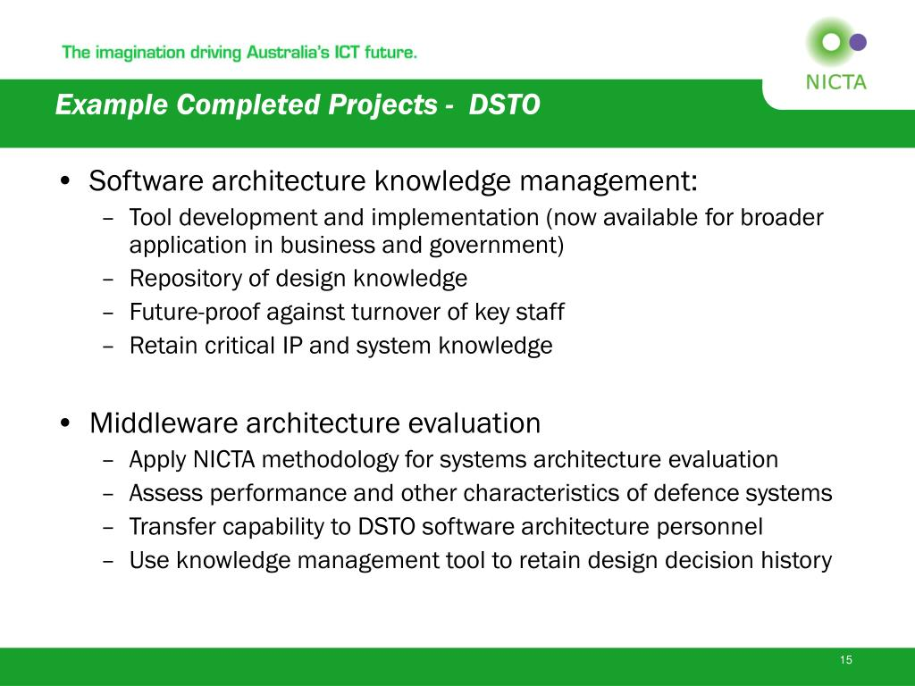Example Completed Projects -  DSTO
