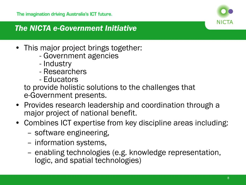 The NICTA e-Government Initiative