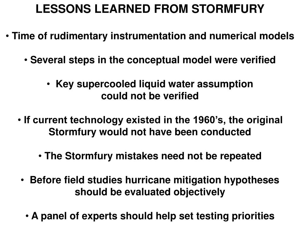 LESSONS LEARNED FROM STORMFURY