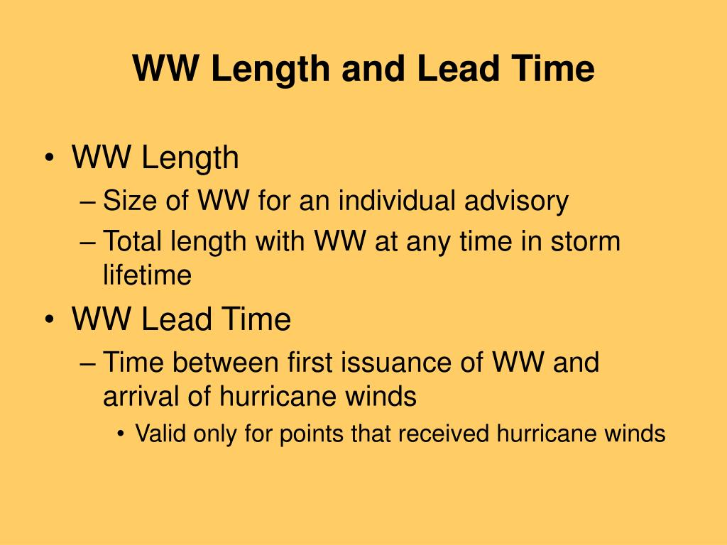 WW Length and Lead Time