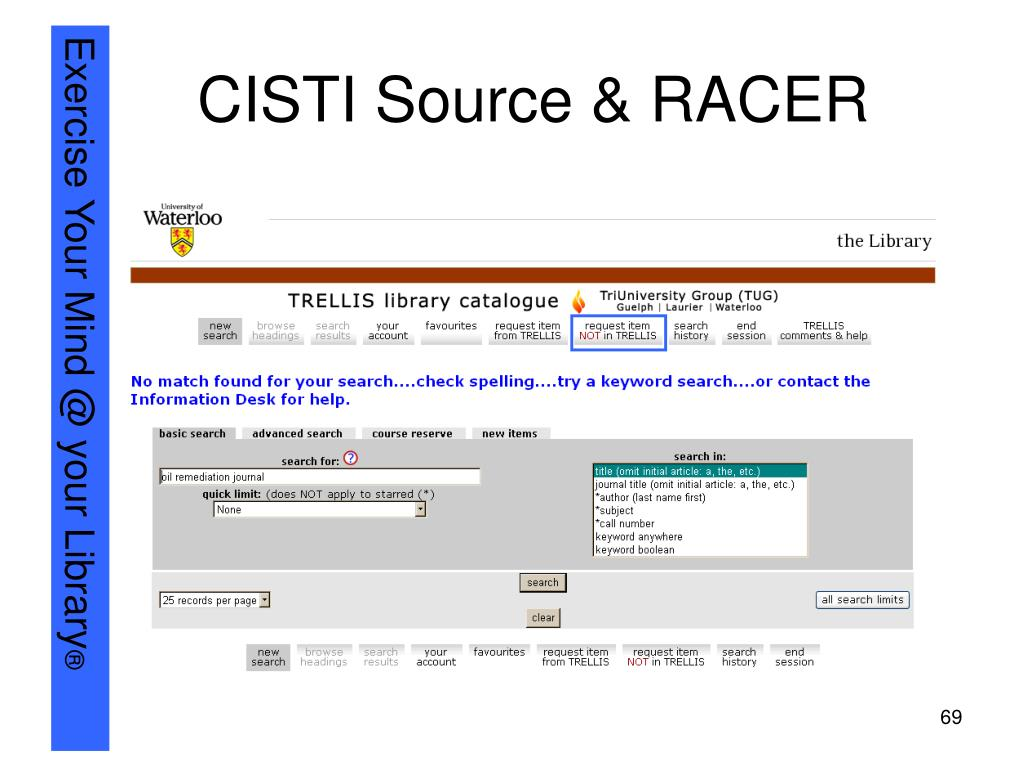 CISTI Source & RACER