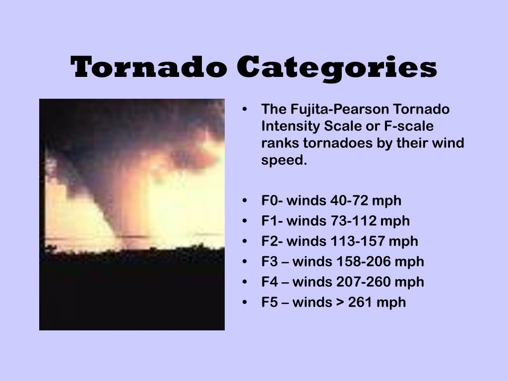 The Fujita-Pearson Tornado Intensity Scale or F-scale ranks tornadoes by their wind speed.
