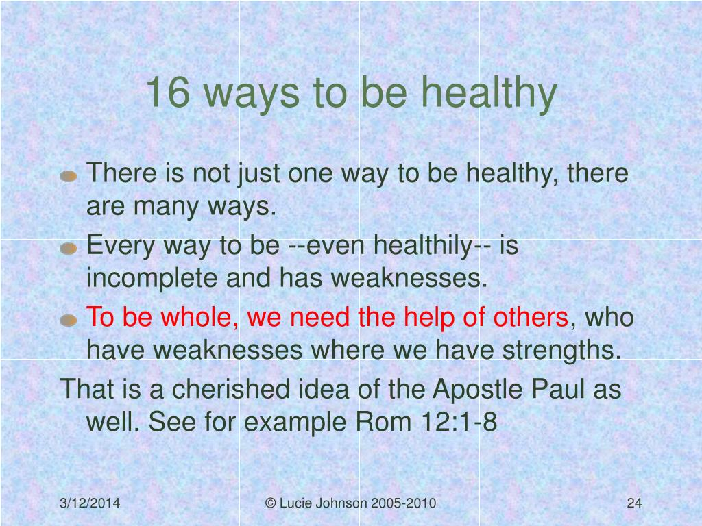 16 ways to be healthy