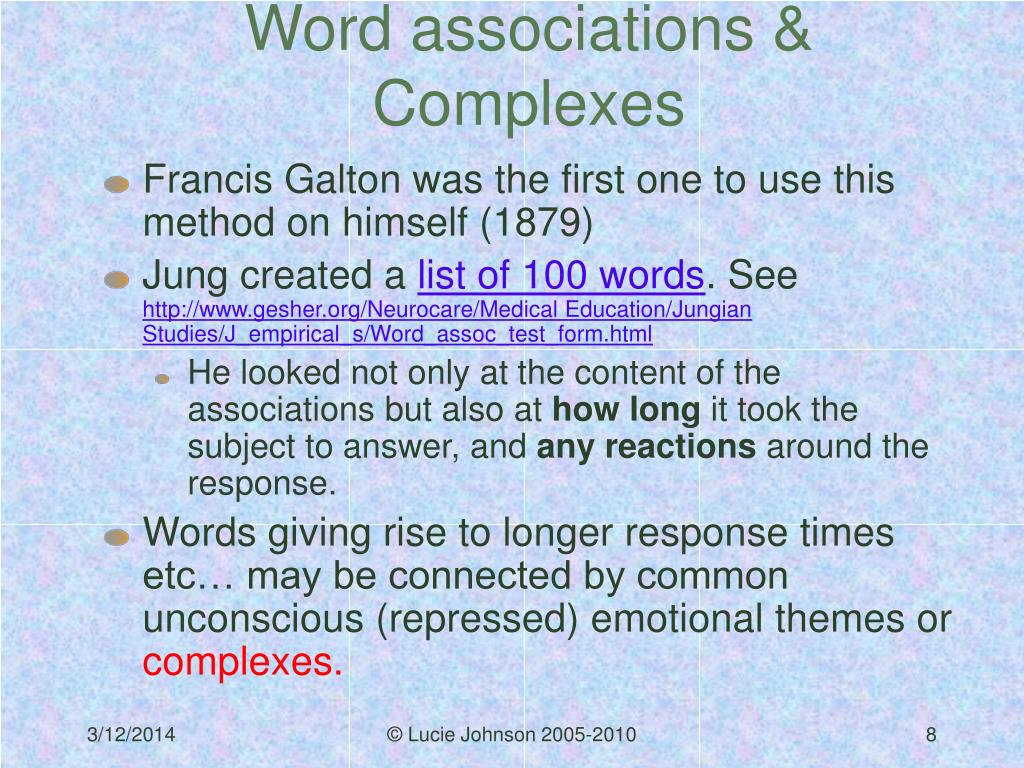 Word associations & Complexes