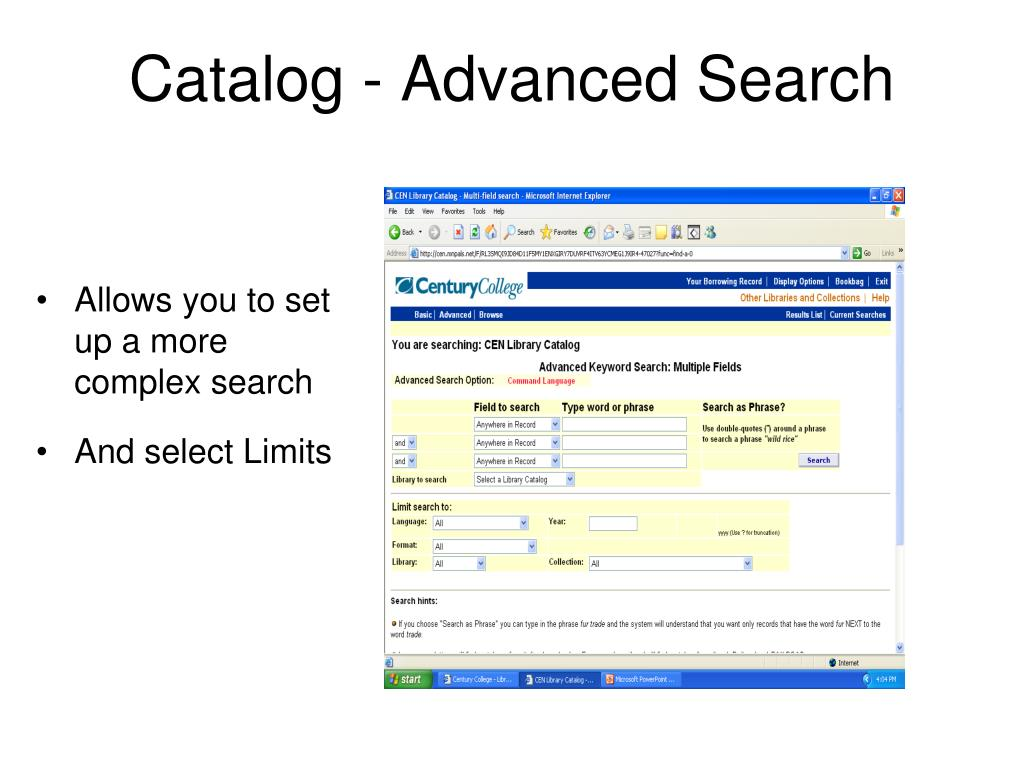 Catalog - Advanced Search