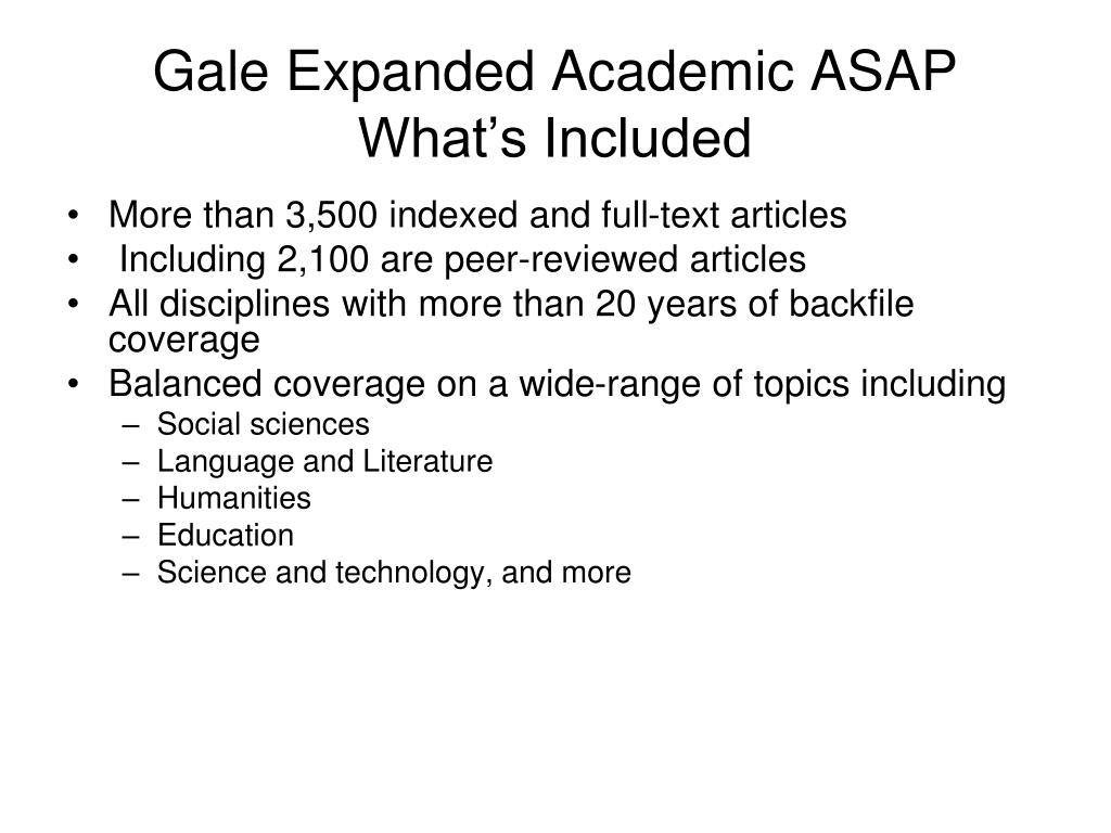 Gale Expanded Academic ASAP