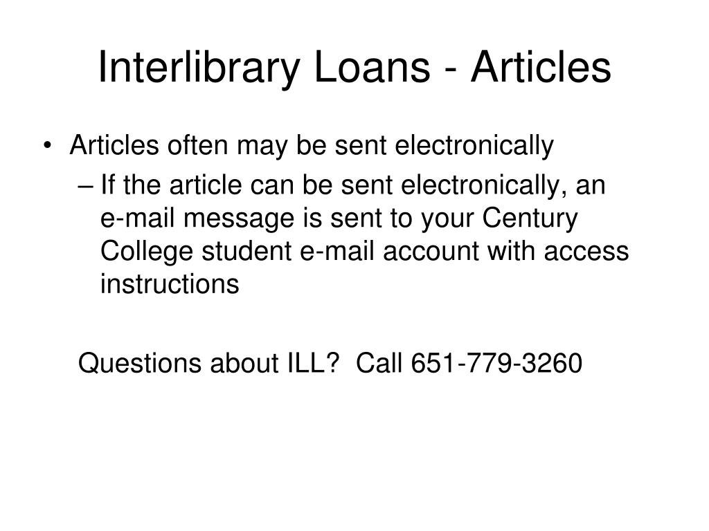 Interlibrary Loans - Articles