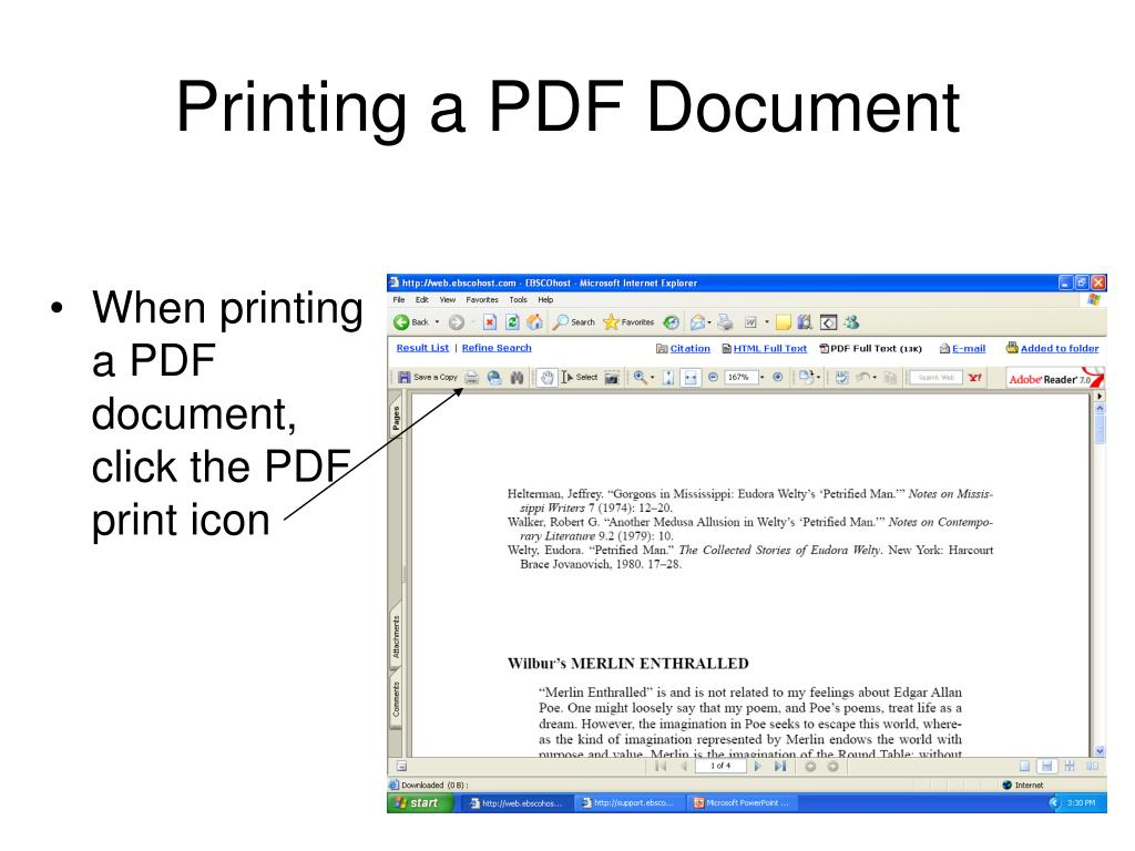 When printing a PDF document, click the PDF print icon