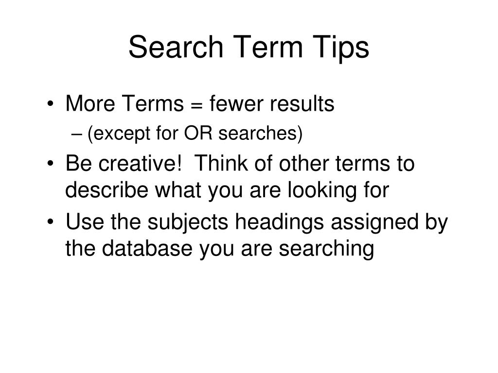 Search Term Tips