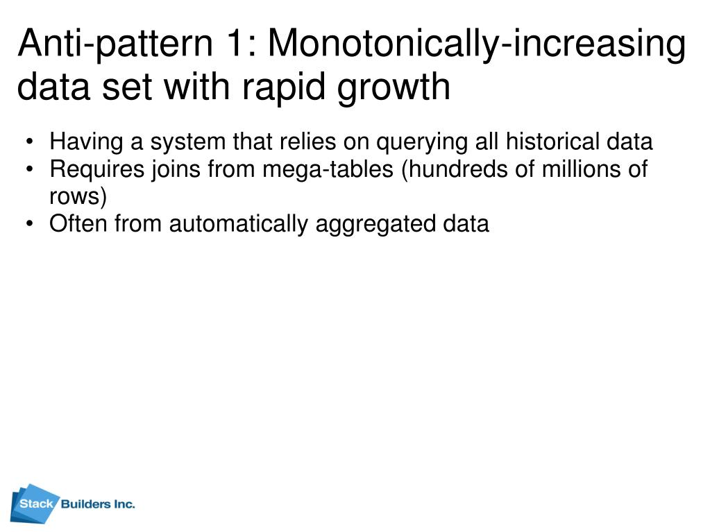 Anti-pattern 1: Monotonically-increasing data set with rapid growth