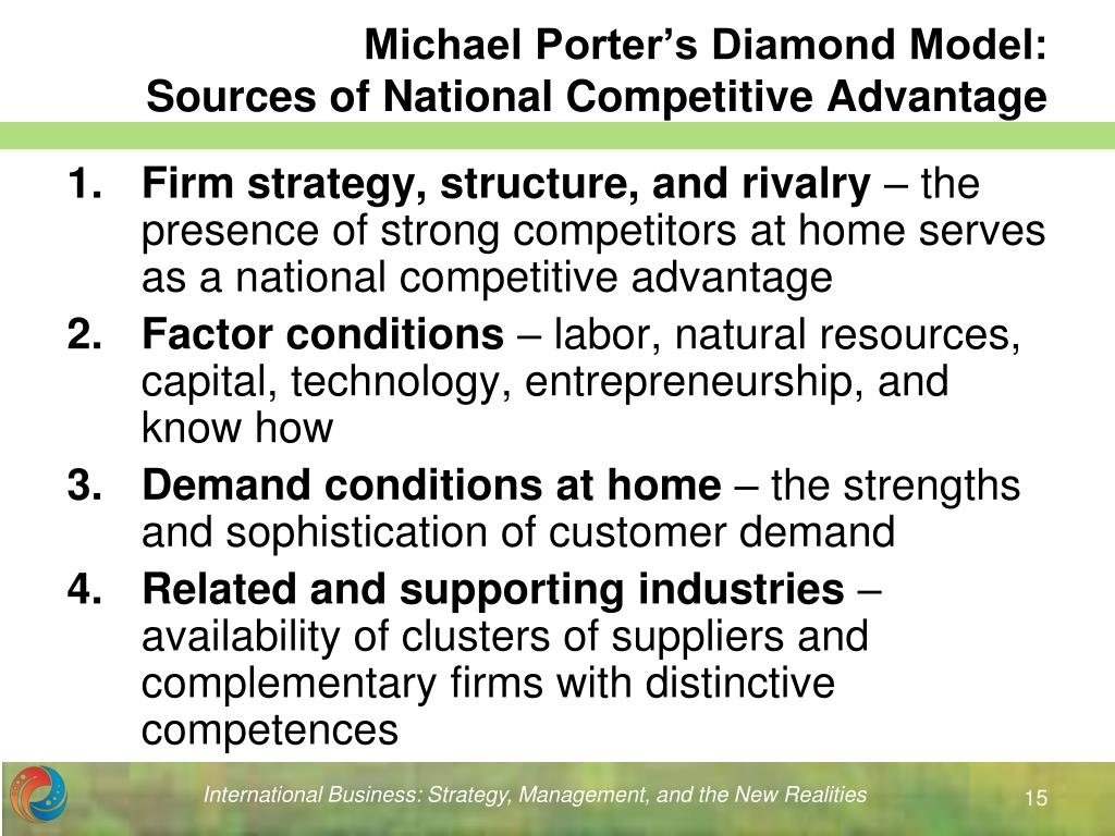 porters national competitive advantage diamond Porters diamond model  porter's diamond is a model used as part fo porter called the answers to these questions the determinants of national competitive advantage.