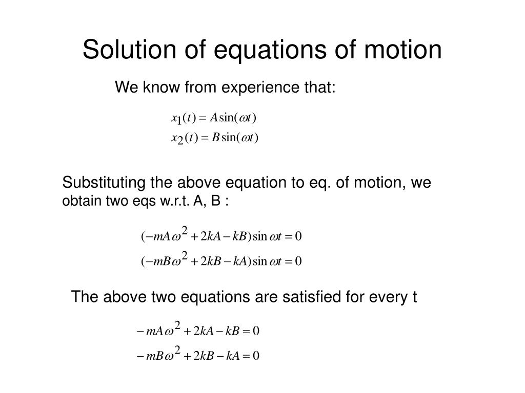 Solution of equations of motion