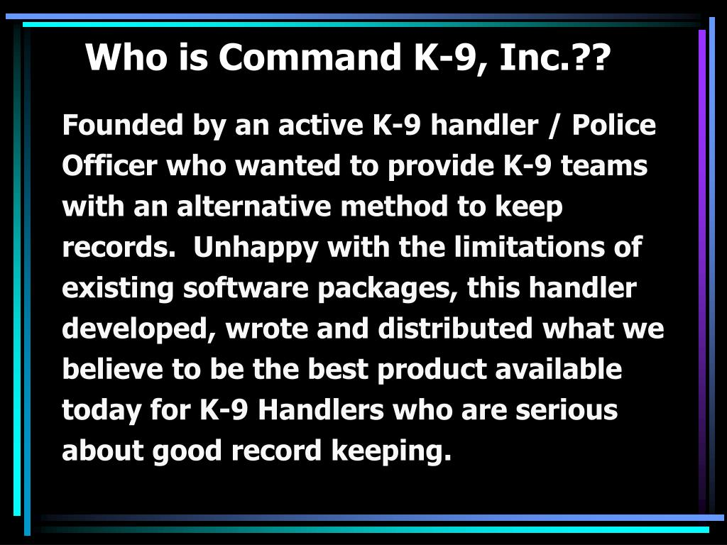Who is Command K-9, Inc.??
