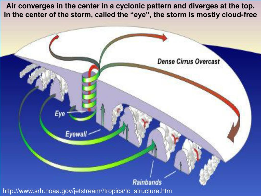 """Air converges in the center in a cyclonic pattern and diverges at the top.  In the center of the storm, called the """"eye"""", the storm is mostly cloud-free"""