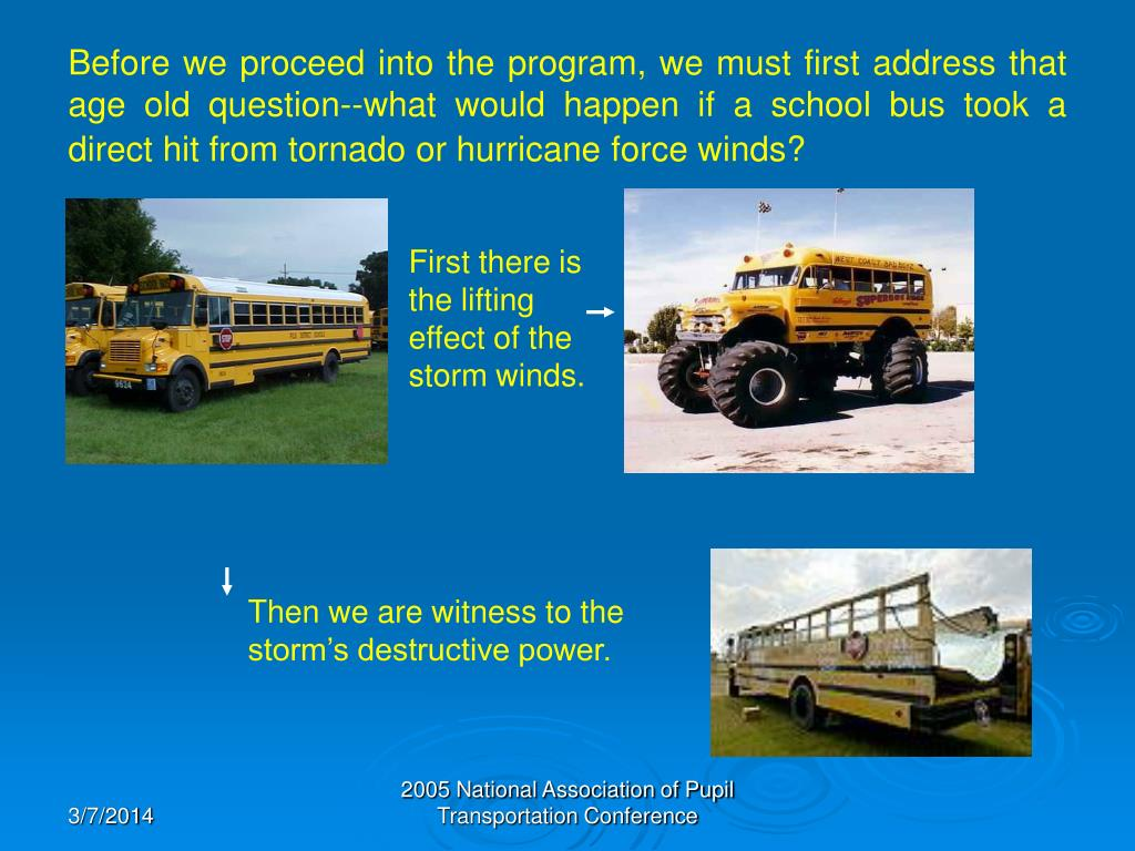 Before we proceed into the program, we must first address that age old question--what would happen if a school bus took a direct hit from tornado or hurricane force winds?
