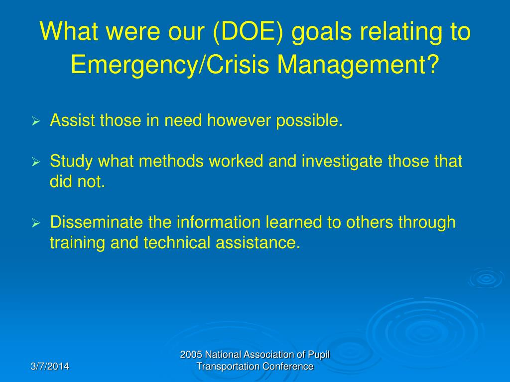 What were our (DOE) goals relating to Emergency/Crisis Management?