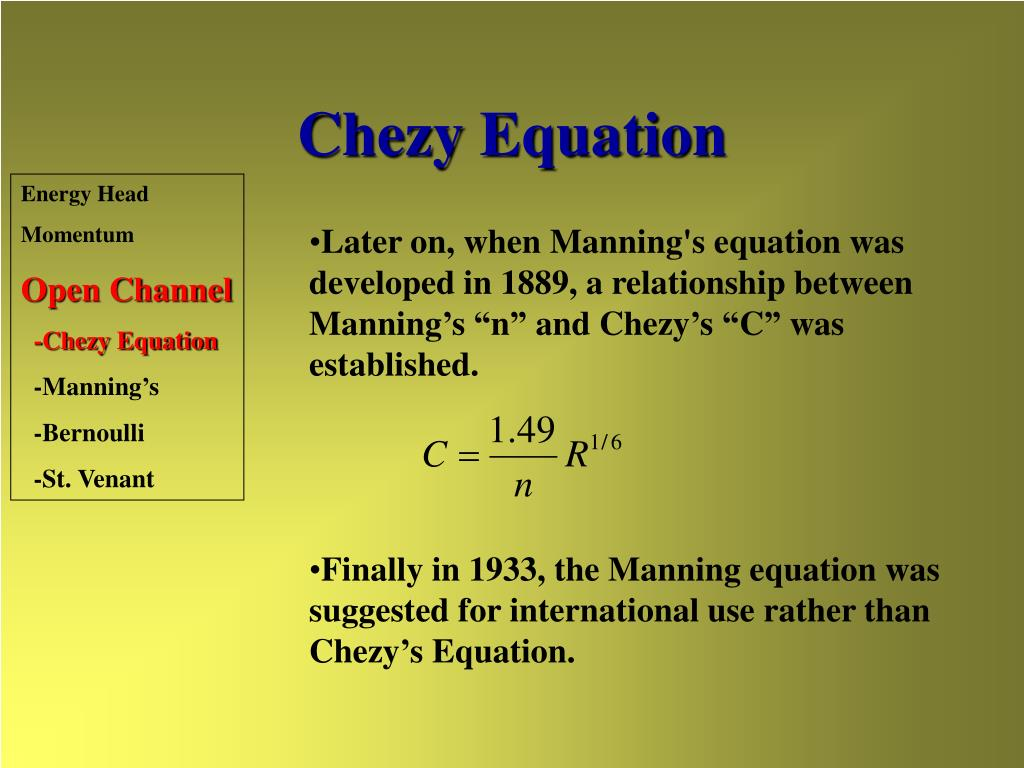 Chezy Equation