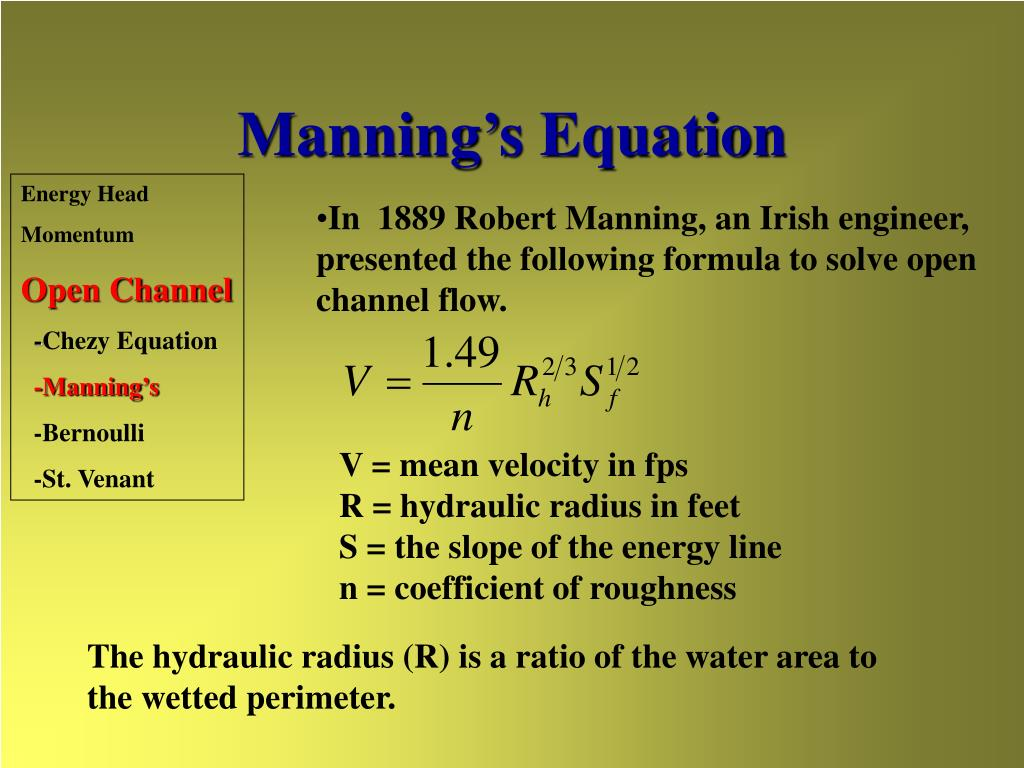 Manning's Equation