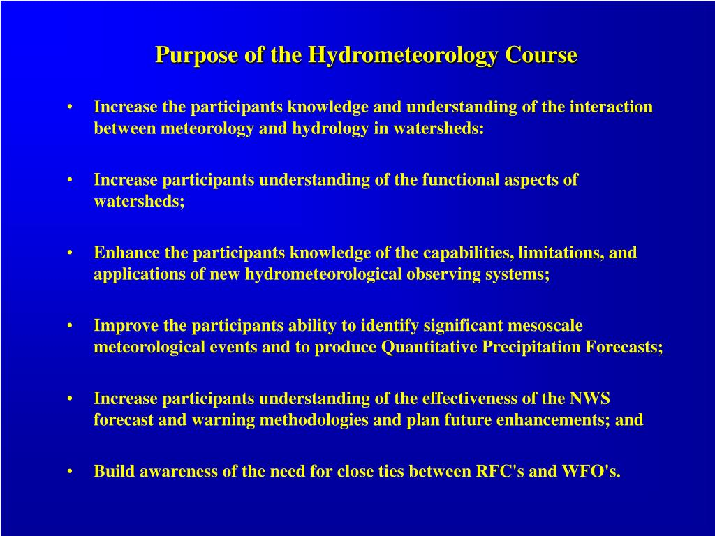 Purpose of the Hydrometeorology Course