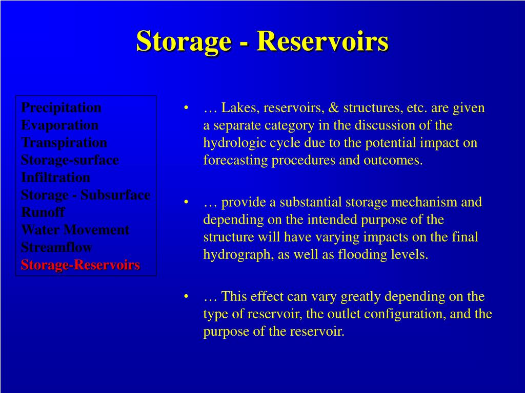 Storage - Reservoirs