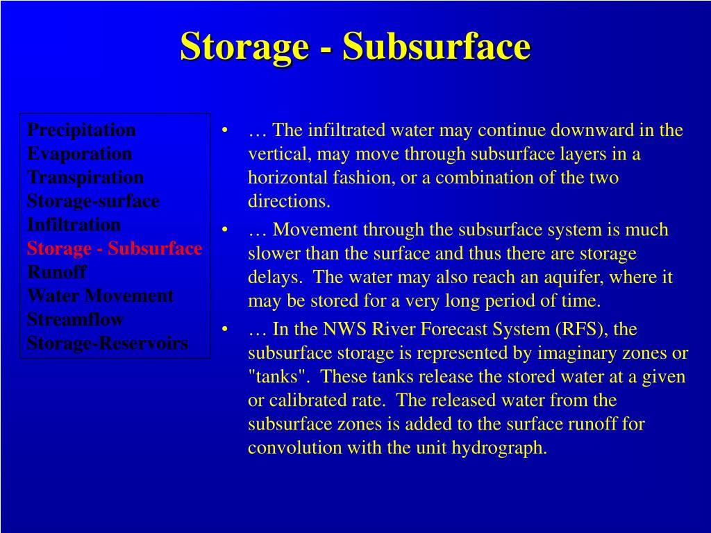 Storage - Subsurface