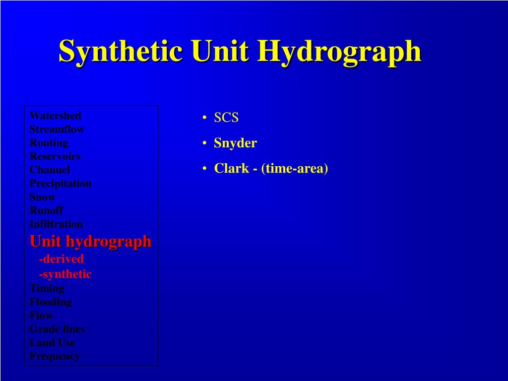 Synthetic Unit Hydrograph