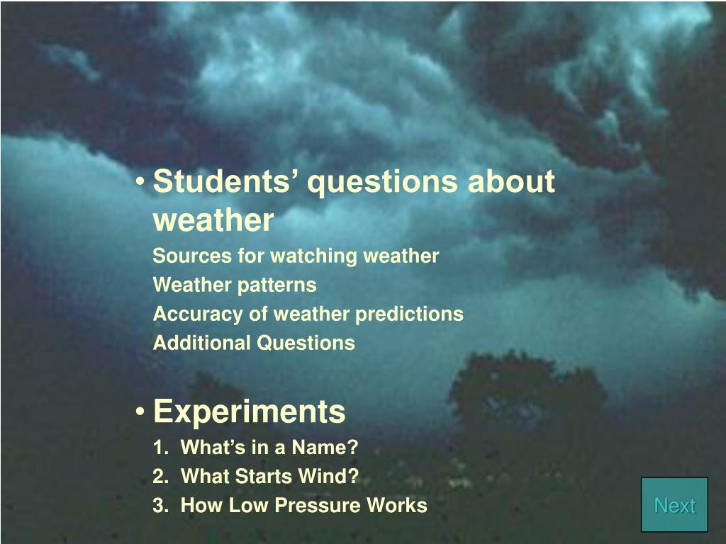 Students' questions about weather