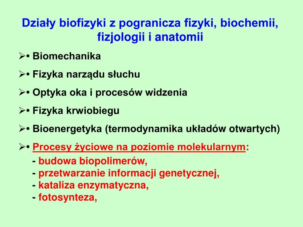 Działy biofizyki z pogranicza fizyki, biochemii, fizjologii i anatomii