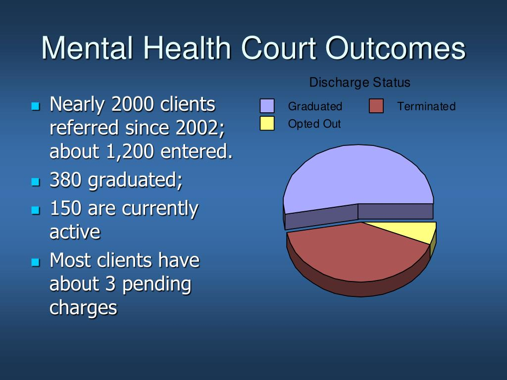 mental health court Mental health courts broward county, though, decided to do something to try to tackle the problem: it established the first mental health court (mhc.