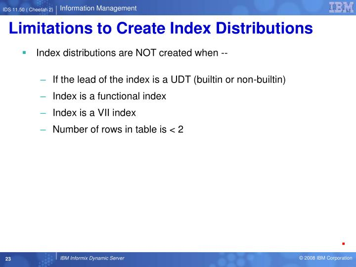 Limitations to Create Index Distributions