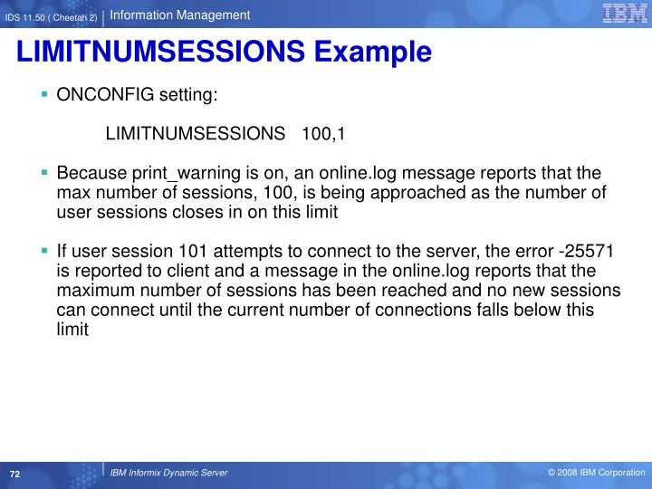 LIMITNUMSESSIONS Example