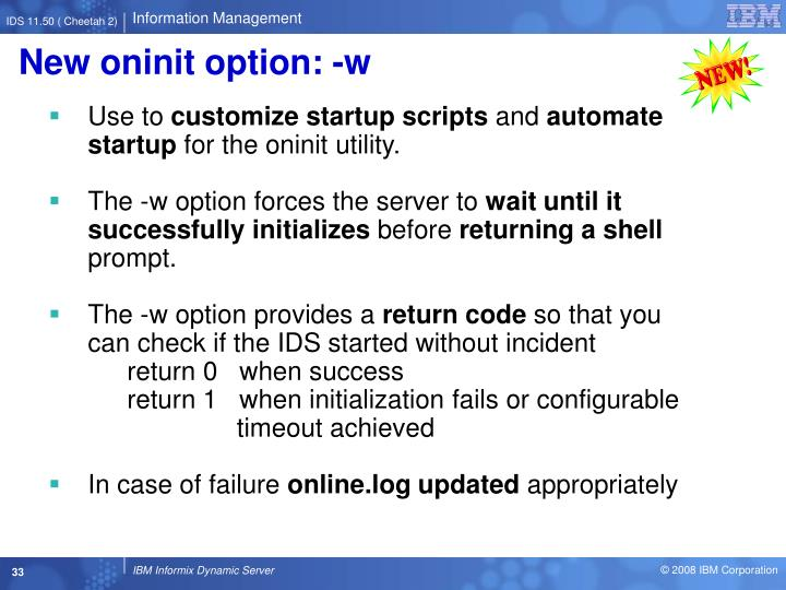 New oninit option: -w