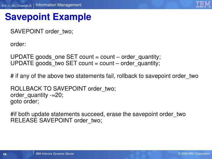 Savepoint Example