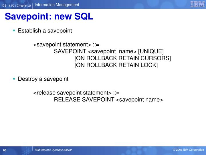Savepoint: new SQL