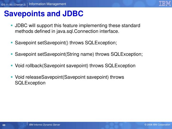 Savepoints and JDBC