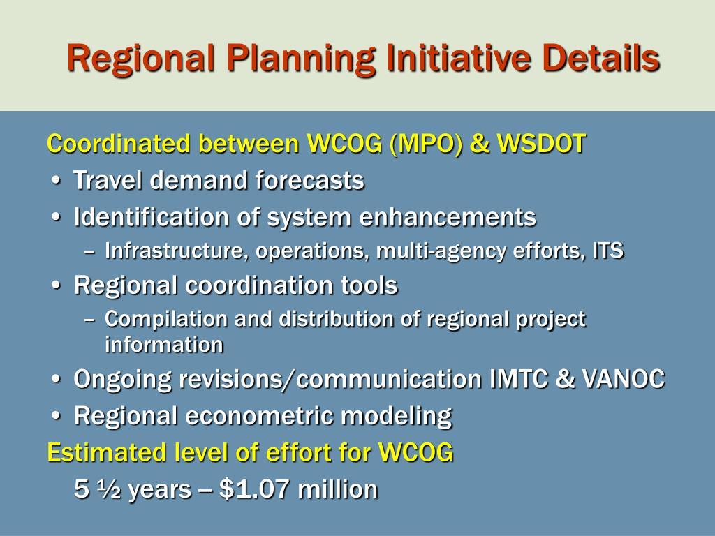 Regional Planning Initiative Details