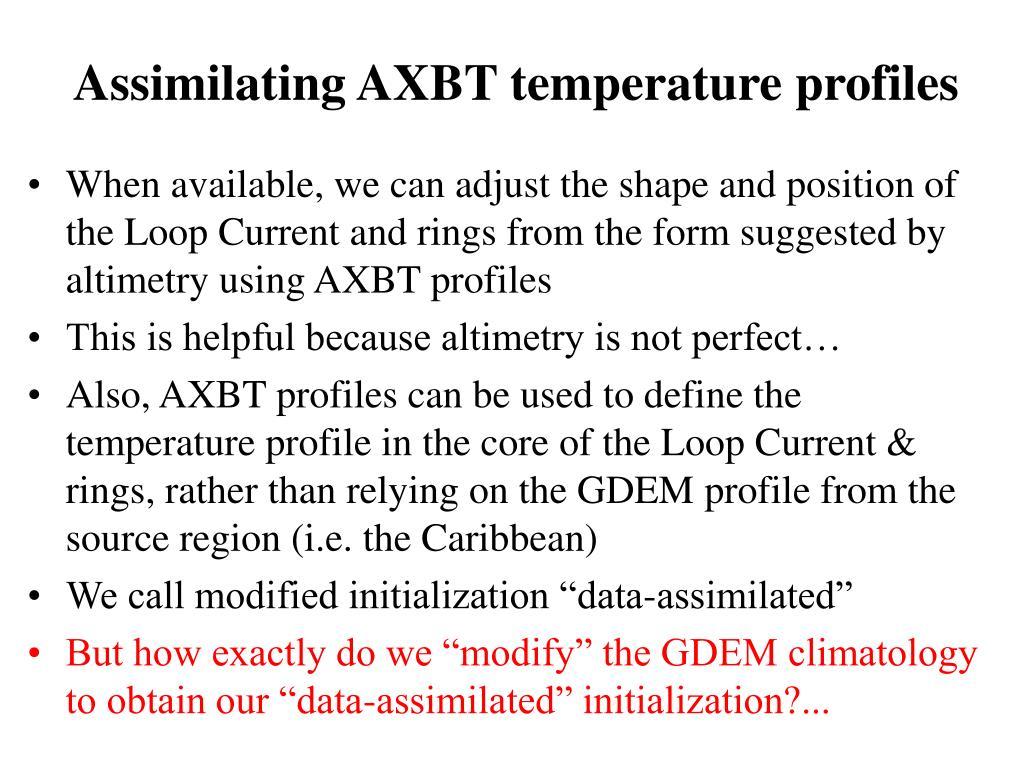 Assimilating AXBT temperature profiles
