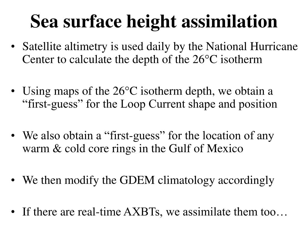 Sea surface height assimilation