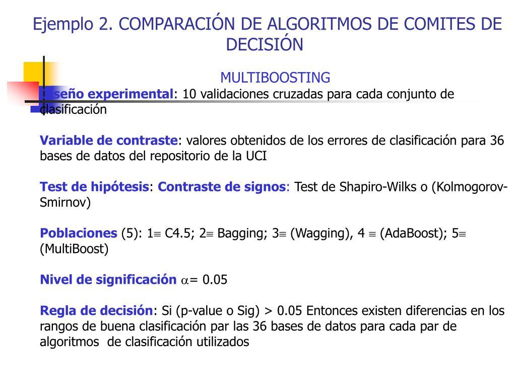 Ejemplo 2. COMPARACIÓN DE ALGORITMOS DE COMITES DE DECISIÓN